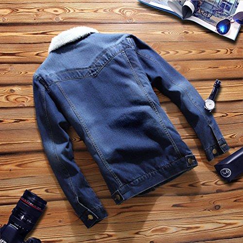 Trucker Blu Di Zkoo Giacca Tasca Vintage Scuro Con Jeans Denim Classico Jacket Uomo nBaPx0n1