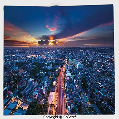 AmaUncle Quick-Dry Square Towel,Bangkok Skyline at Sunset Evening Thailand Cityscape Metropolis Architectural Photo,Highly Absorbent Cleaning(13.77x13.77 inch),Blue ()