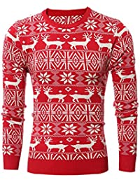 Men's Crew Neck Reindeer Snowflakes Christmas Pullover Sweater Jumper