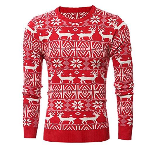 Christmas Pullover - Shineflow Men's Crew Neck Reindeer Snowflakes Christmas Pullover Sweater Jumper (M, Red)
