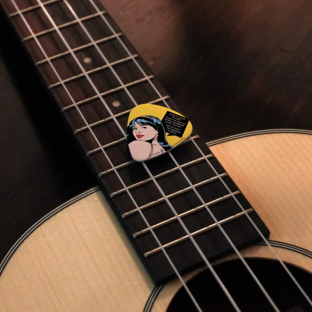 Juego de 6 púas para guitarra con texto en inglés