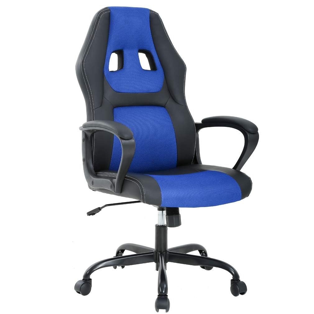 Ergonomic Office Chair Cheap Desk Chair PC Gaming Chair Rolling PU Leather Swivel Chair Executive Computer Chair Lumbar Support for Women, Men(Blue)