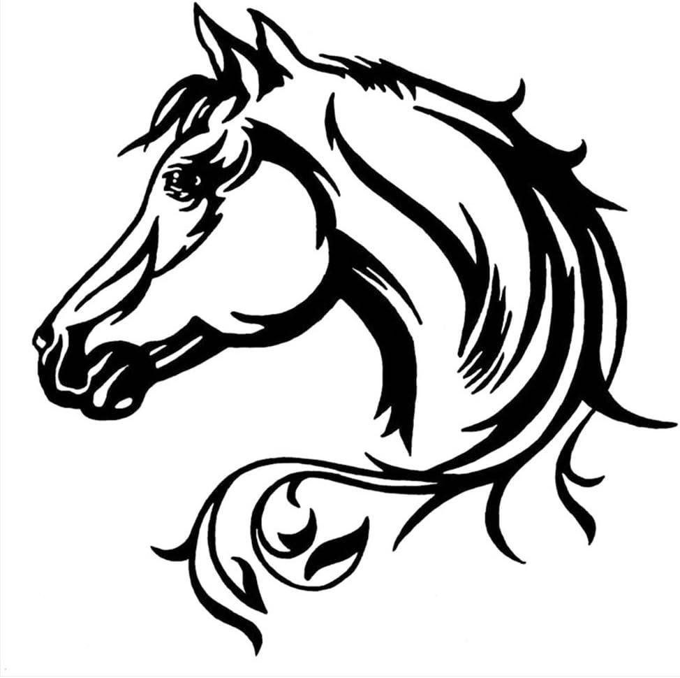20 * 20 cm pegatina reflectante para coche caballo hermoso patrón animal cuerpo del coche calcomanía decorativa pegatinas para coche negro/blanco(negro)