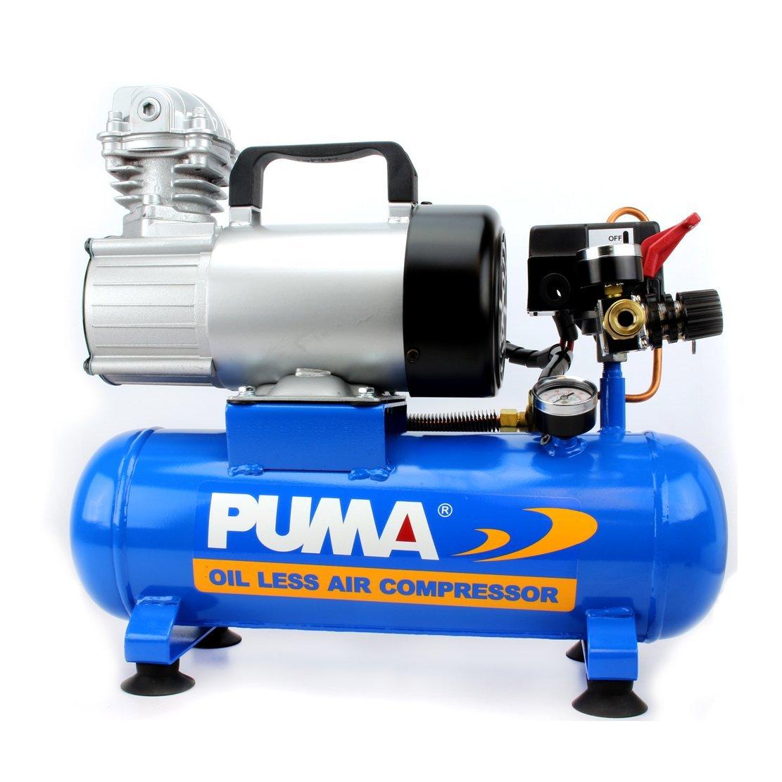 Puma Industries PD1006 Air Compressor, Professional D.C. Direct Drive Oil-Less Series, 0.75 hp Running, 135 Maximum psi, 12V/Phase, 1.5 gal, 31 lb.