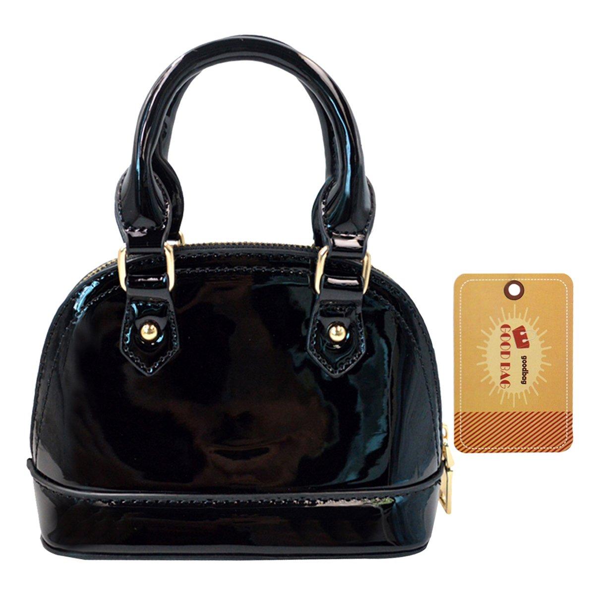 Goodbag Boutique Women Fashion Tote Handbag Patent Leather Crossbody Bag Mini Clutch Chain Shoulder Shell Purse Top Handle Bags(Black)