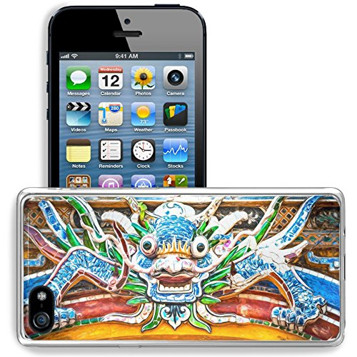 MSD Apple iPhone 5/iPhone 5S/iPhone SE Clear case Soft TPU Rubber Silicone Bumper Snap Cases iPhone5/5S IMAGE ID: 27593404 Dragon over gate to Hue citadel Vietnam - Citadel The California