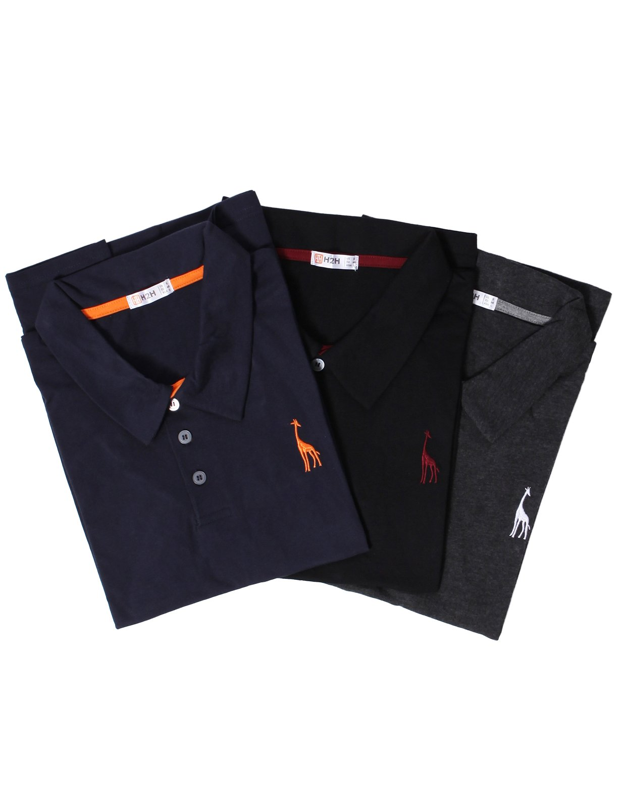 6f7f16a25 Galleon - H2H Mens Classic Solid Giraffe Polo Shirts With Giraffe Embroidery  Set MULTI1 US S/Asia L (SET3JDSK36)