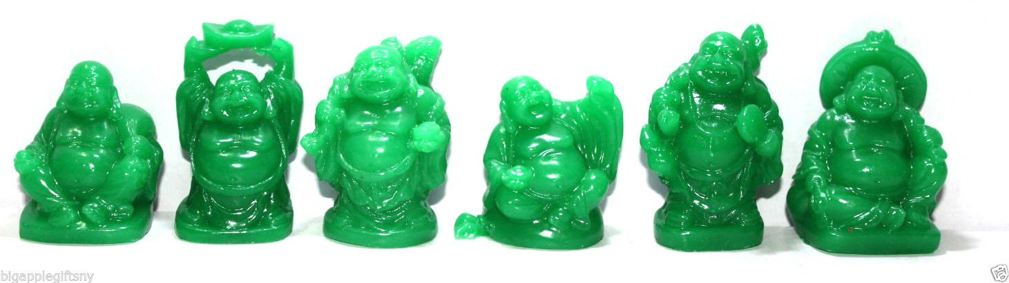 Set of 6 Jade Color Feng Shui Laughing Buddha Statue Figures Luck & Wealth G2228-1