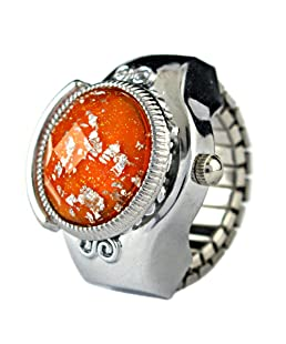 Youyoupifa Round Faceted Crystal Inlay Hunter Case Quartz Finger Ring Watch (Orange)