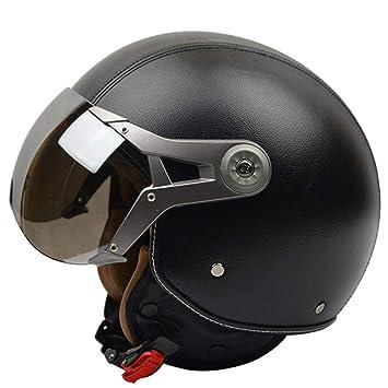 HOEMKUY Caschi Moto Casco Moto Vintage Retro Vintage 3/4 T Vintage Harley Black M