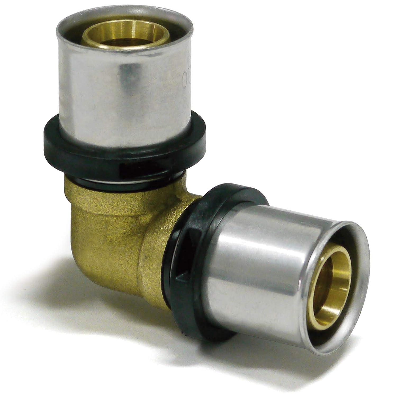 Pipetec /Ángulo de presi/ón de 90/° 1 unidad, tubo compuesto de aluminio, certificado DVGW, acodado, prensado TH Profile