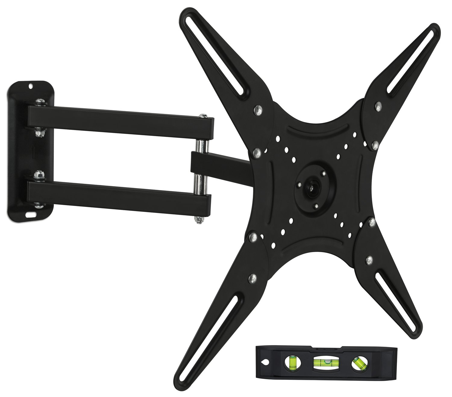 Mount-It TV Wall Mount Full Motion LCD, LED 4K TV Swivel Bracket for 23-55 inch Screen Size, Compatible with VESA 400x400, 66 lbs Capacity (MI-2065L), Black