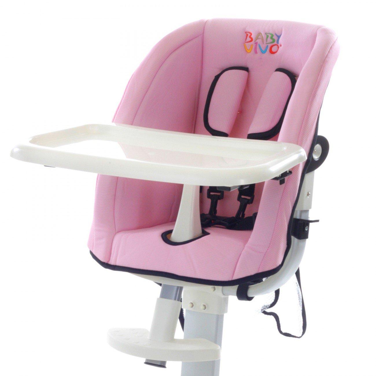 Baby Vivo Housse de rechange Chaise haute r/églable pour B/éb/é Enfant avec tablette rose