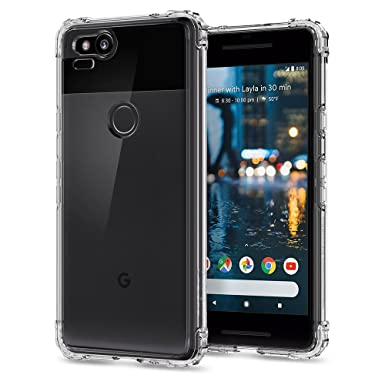 release date 37f2a 7c94d Spigen [Crystal Shell] [Crystal Clear] Case for Google Pixel 2, Clear Back  Panel Reinforced Corners TPU Bumper Cover for Pixel 2 Case (2017) ...