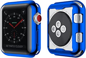 Smiling Apple Watch 3 Case Buit in TPU Screen Protector All-Around Protective Case High Defination Clear Ultra-Thin Cover for Apple iwatch 38mm Series 3 and Series 2 (Blue)