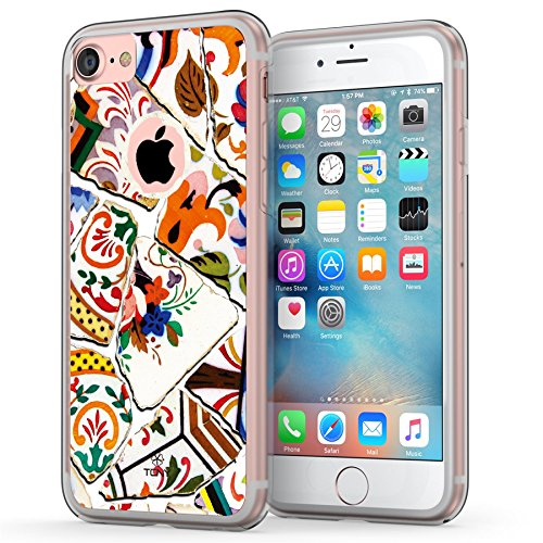 iPhone 7 Case, Tiles iPhone 8 Case, True Color Portuguese Mosaic Tiles [v1] Printed on Clear Hybrid Cover Hard + Soft Slim Durable Protective Shockproof TPU (Mosaic Protective Case)
