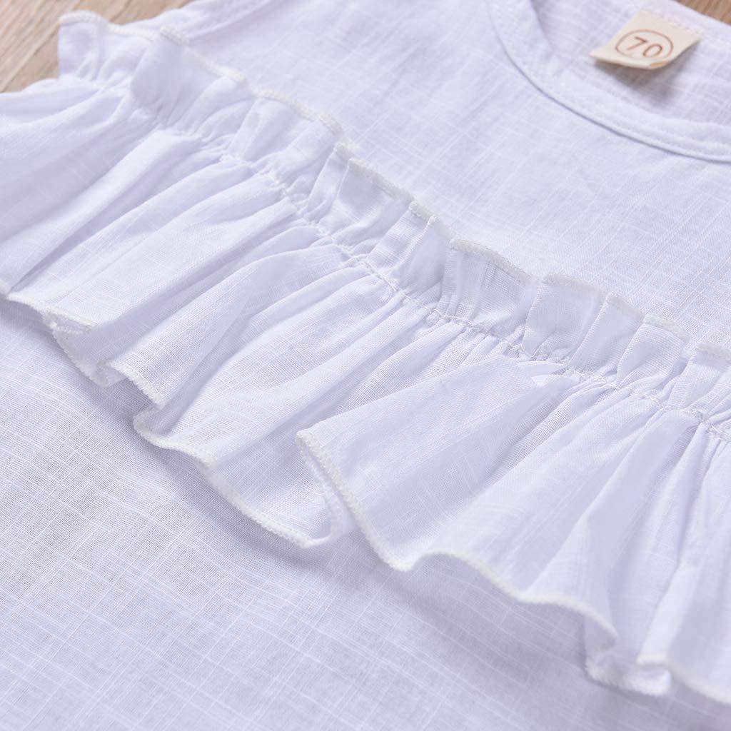 Handband Unistylo Newborn Clothes Baby Girls 2pcs Outfits Sleeveless Ruffled Bodysuit