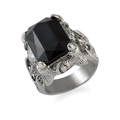 cd2e4cbd10d80 Sarah Square Faux Stone Finger Ring for Men - Silver [Jewelry]