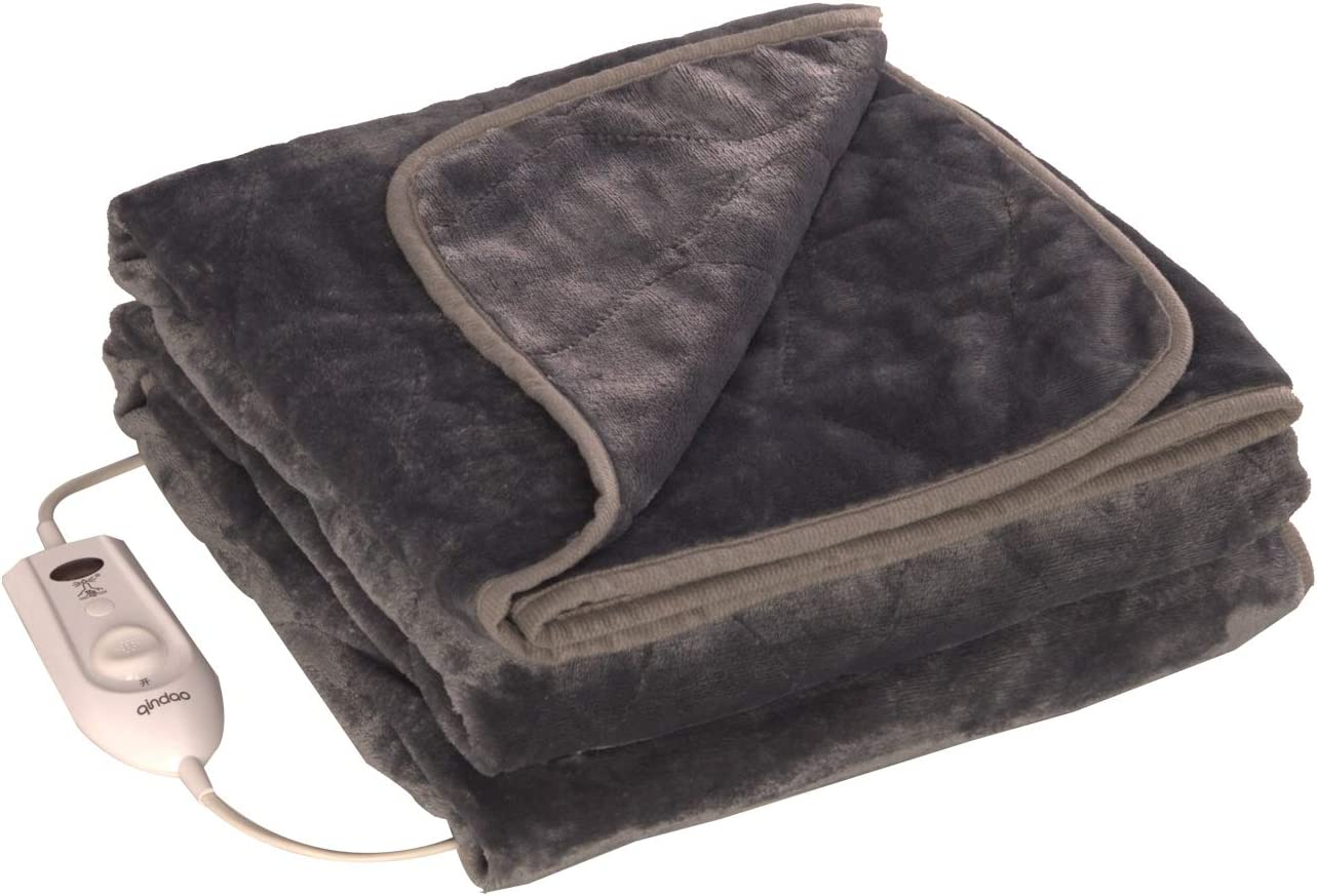 Electric Heated Throw Blanket 50 x 60 Inch, Cosy Fleece Heated Blanket with 4 Heating Levels and Overheating Protection System (Gray)