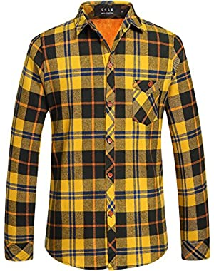 Men's Fleece Lining Checkered Slim Fit Casual Thermal Flannel Shirt