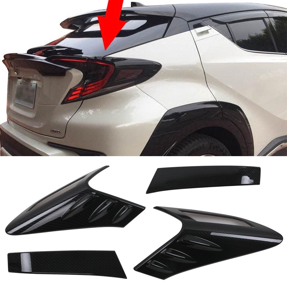 Taillight Covers Fits 2017-2018 Toyota C-HR | MD 4 Pieces/Set Taillight Covers Carbon Fiber Look By IKON MOTORSPORTS