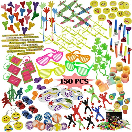 Party Favors for Kids Birthday Party- Bulk Novelty Toys for Girls and Boys - 150 Pc Party Prizes Toy Assortment for Goodie Bags Party Bags and Pinata Prizes -