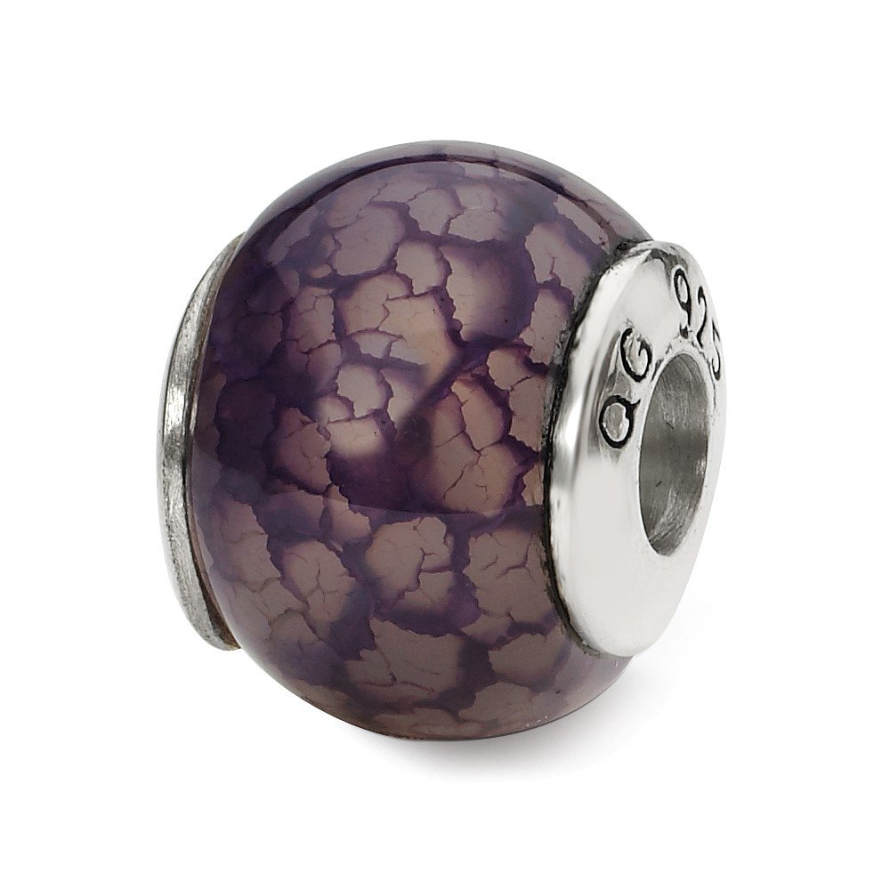Sterling Silver Reflections Purple Cracked Agate Stone Bead 10.91 mm 12.73 mm From the Earth Beads Jewelry
