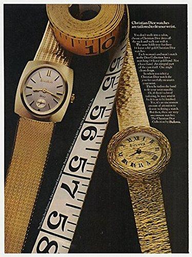 1969 Bulova Christian Dior Collection Watches Original Print Ad Memorabilia