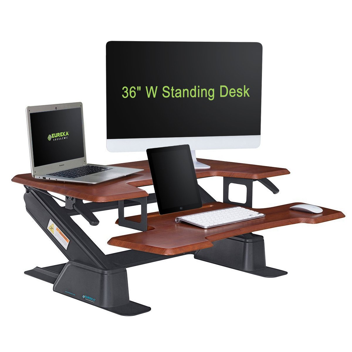 EUREKA ERGONOMIC Height-Adjustable Sit-Stand Desk Top, 36-Inch Wide, No Assembly Required, SGS Top Rated, Cherry
