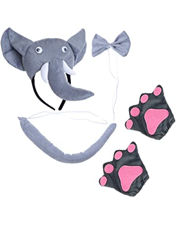 1168d37cea9 Amosfun 5 Pcs Costume Party Favors Kids Elephant Ears Headband Party with  Tie and Tail Gloves