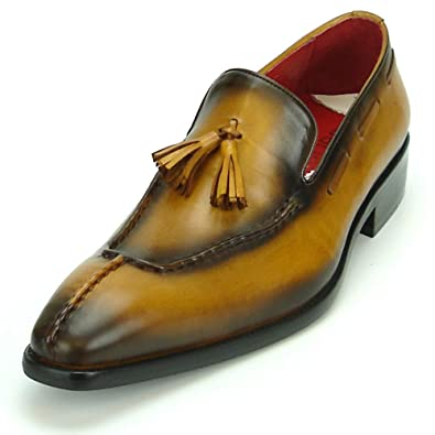 Fiesso by Aurelio Garcia FI-8701 Genuine Leather Tan With Tassel Slip on - European Shoe Designs