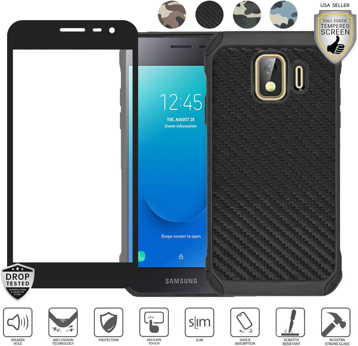 Compatible for Galaxy J2/J2 Pure/J2 Core/J2 Dash Camo/Carbon Case, with [Tempered Glass Screen Protector], Armor Hybrid [Shock Proof] Men Women Design Phone Cover (Carbon Black)