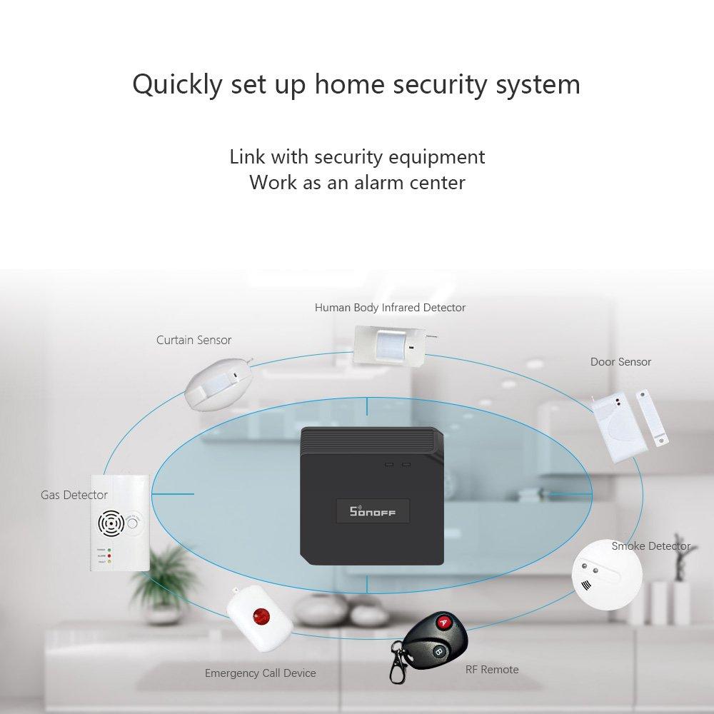 Sonoff RF Bridge 433MHz Interruptor de RF inalámbrico WiFi RF Control Remoto, IR RF Todo en uno Automatización de Aprendizaje Control Remoto Universal, ...