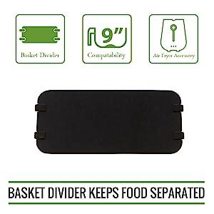 "Simple Living XL Air Fryer Cooking Divider, Compatible with 9"" Air Fryer Baskets. Air Fryer Basket Divider Keeps Food Separated"
