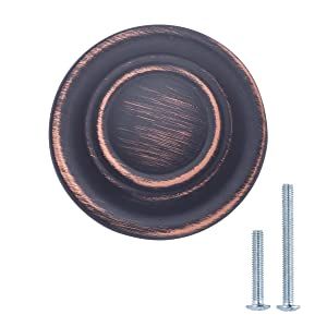 "AmazonBasics (AB200-OR-25) Traditional Top Ring Cabinet Knob, 1.25"" Diameter, Oil Rubbed Bronze, 25-Pack"