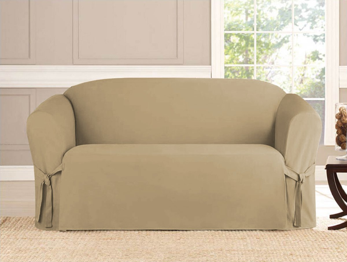 Kashi Micro-Suede Slipcover Sofa Loveseat Chair Furniture Cover (Love Seat, Taupe) Kashi Home SC031913