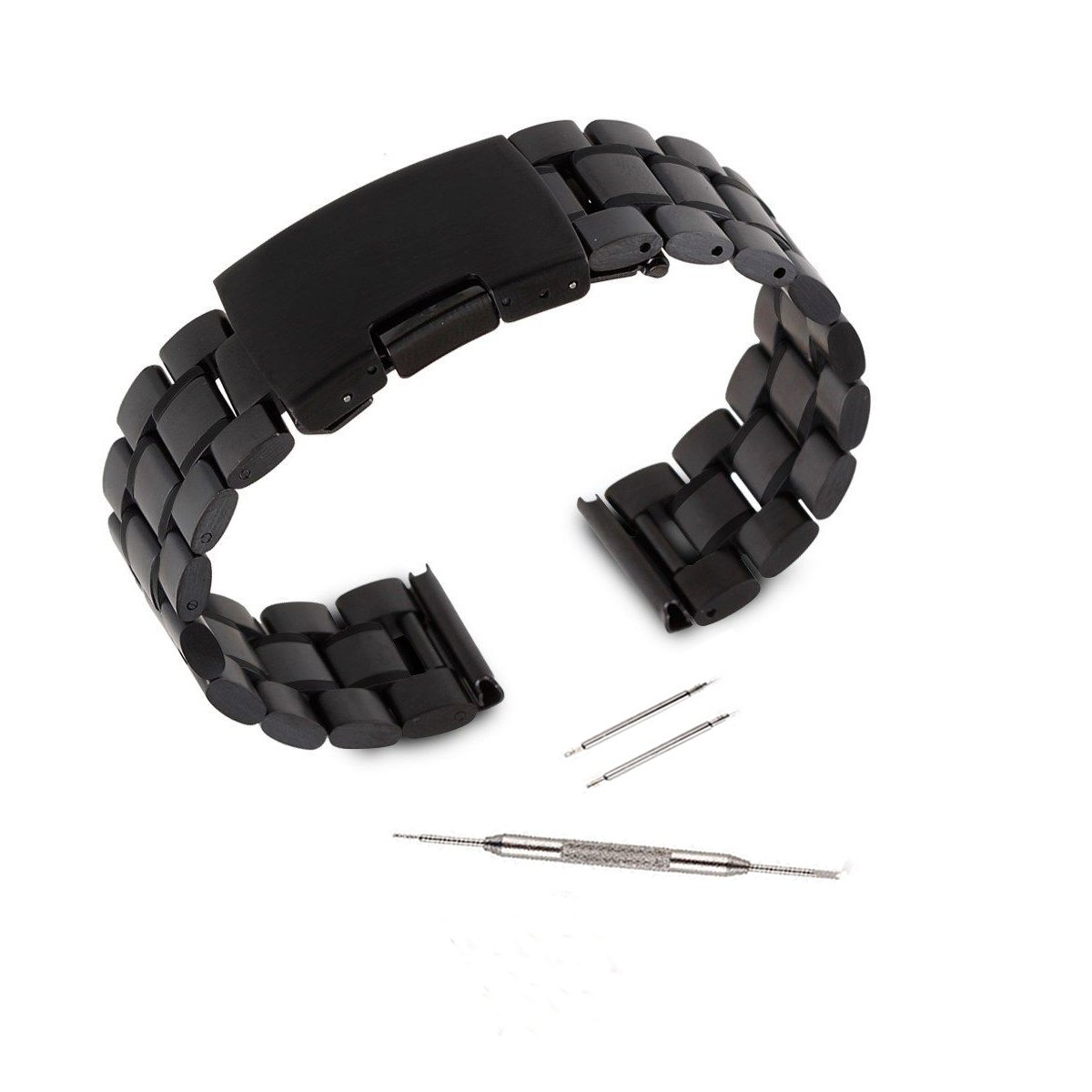 Kuxiu 22mm Stainless Steel Replacement Watch Band Strap for LG GR W100 W110 & Samsung Gear 2nd & Pebble Smartwatch Black Color + Tools