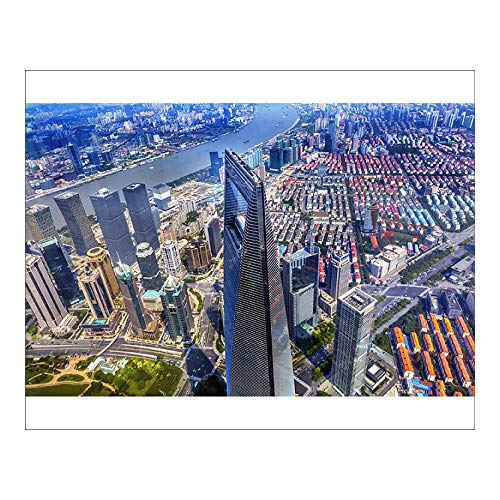 (Media Storehouse 10x8 Print of Looking Down on Black Shanghai World Financial Center Skyscraper Reflections (13917956))