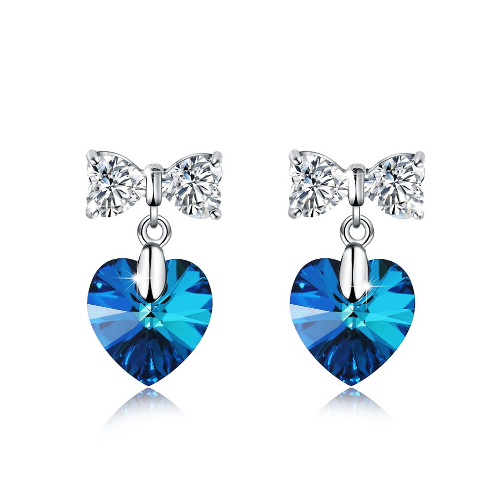 Meidiya 925 Sterling Silver Love Heart & Butterfly Stud Earrings With Swarovski Crystal Elements Gift For Her (Blue)