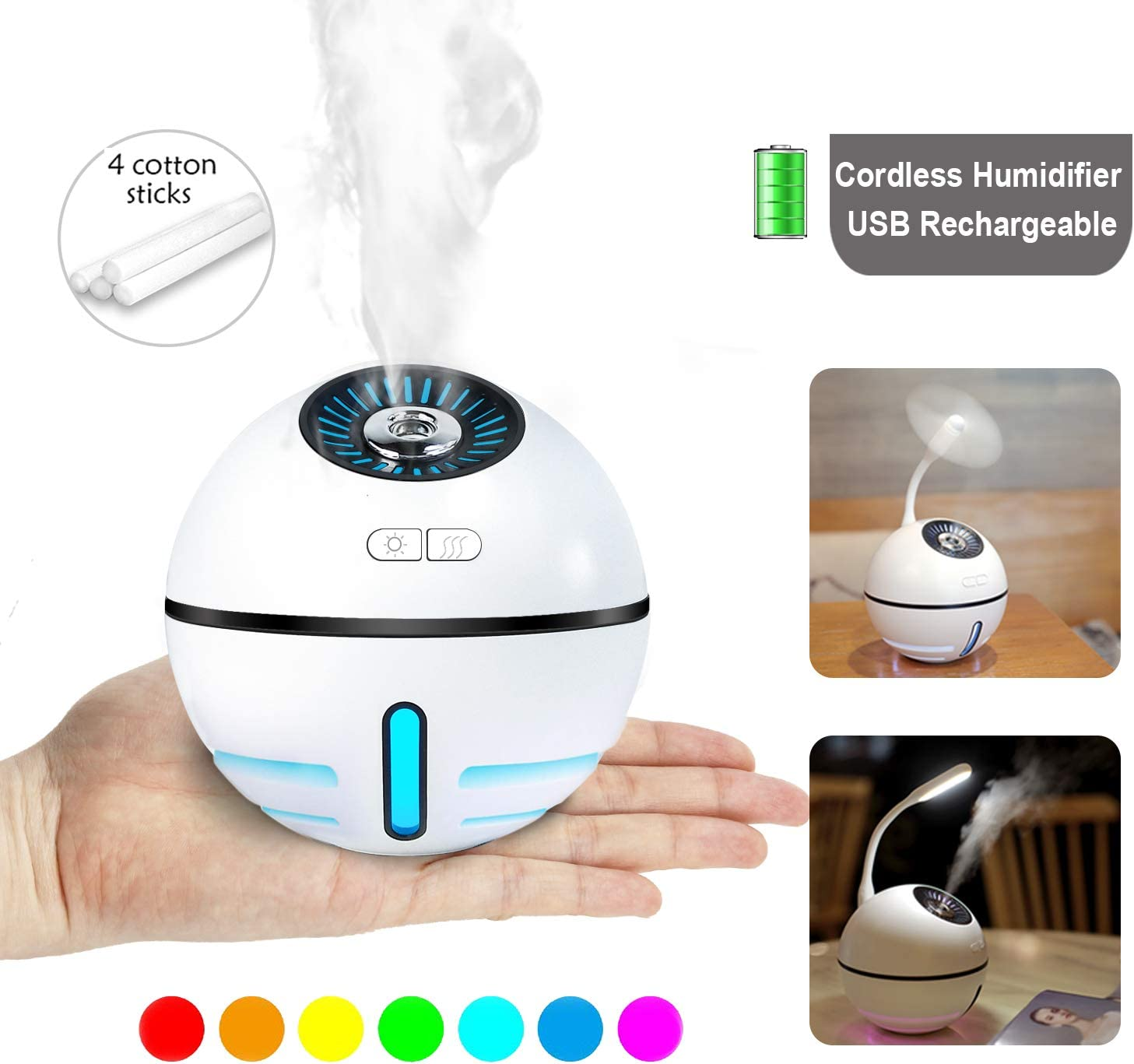 DCMEKA Office Humidifier for Desk, [Newest Updated Version] USB Cool Mist Humidifier Personal Humidifier, Quiet Desk Humidifiers for Bedroom Home Baby