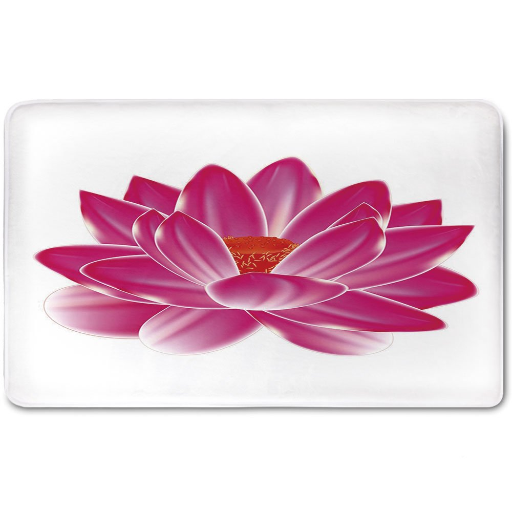 Memory Foam Bath Mat,Lotus,Vibrant Lotus Flower Pattern Spa Zen Yoga Asian Balance Energy Lifestyle Artsy ImagePlush Wanderlust Bathroom Decor Mat Rug Carpet with Anti-Slip Backing,Magenta Red