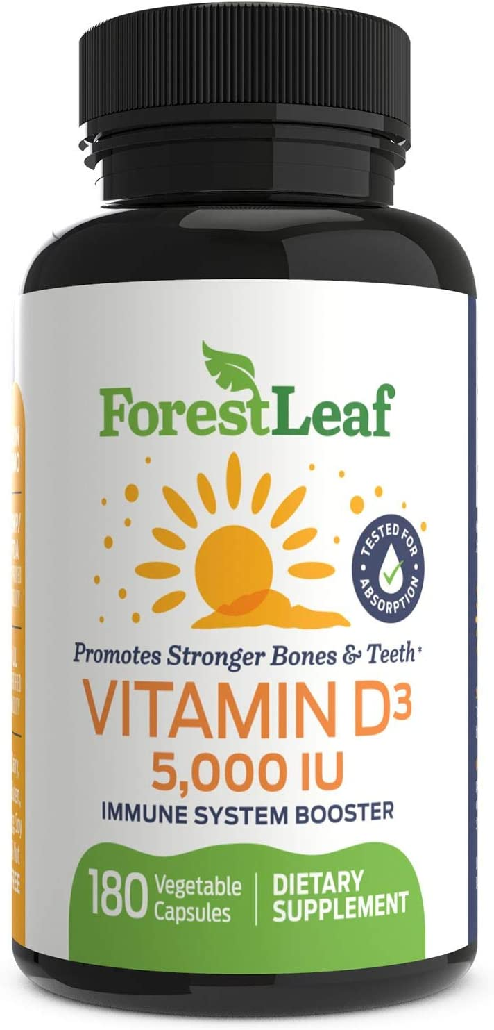Vitamin D3 5,000 IU Weekly Supplement - 180 Vegetable Capsules - Helps Boost and Strengthen Bones, Teeth, Immune System and Muscle Function - by ForestLeaf