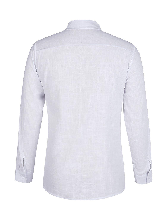 ThusFar Men\'s Button Up Linen Shirts - Summer Long Sleeve Button Down Hippie Shirts X-Large White