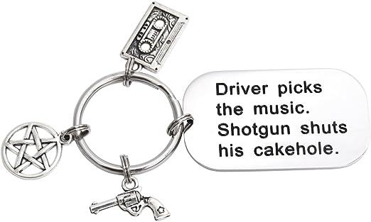 LParkin Driver Picks The Music Shotgun Cierra su Cakehole Sobrenatural Llavero: Amazon.es: Ropa y accesorios