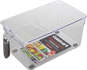 Cuisinart Pantry Organizer and Fridge Organizer Bins – Large Plastic Organizer Bin, Measures 11 x 6 x 4.75 Inches – Organize Your Kitchen – Soft-Grip Handle, Stackable, BPA Free