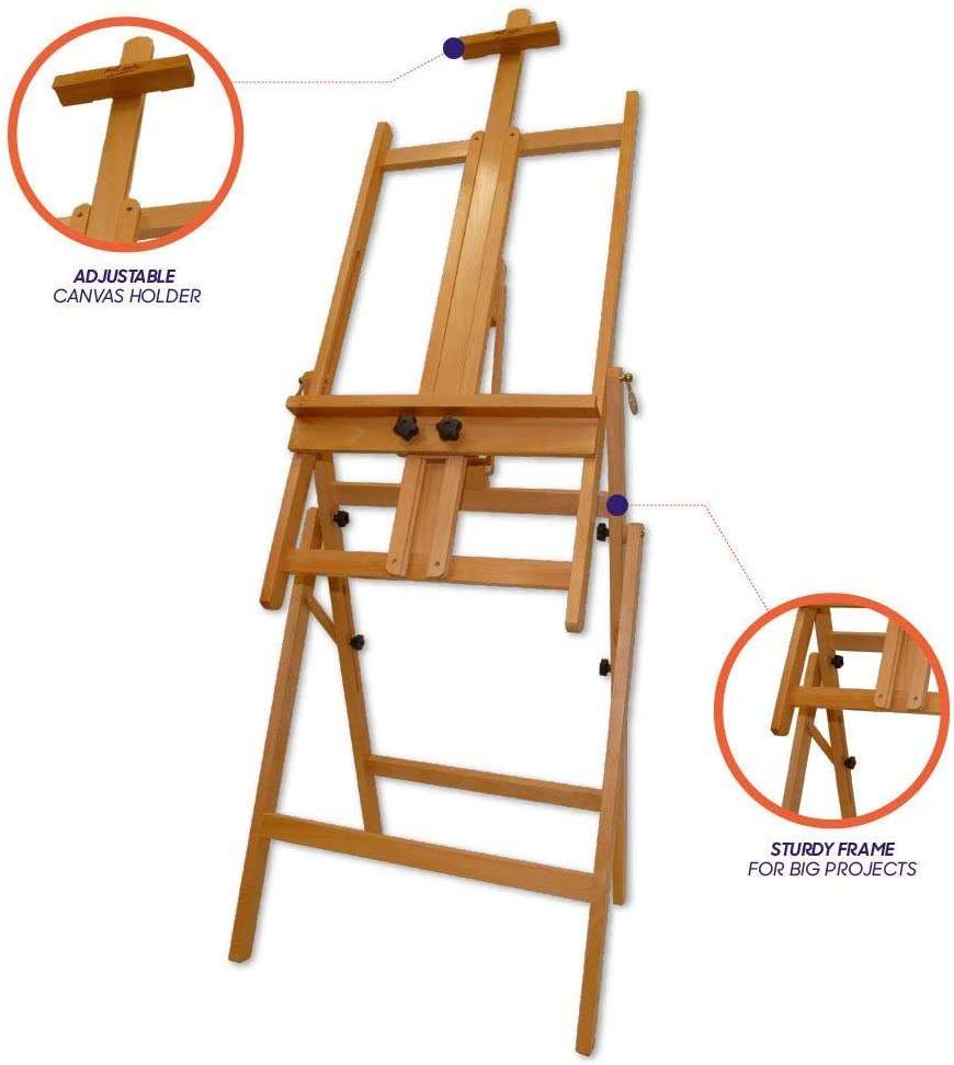 Floor Easel Suitable for a Range of Canvas Sizes Mont Marte Convertible Studio Easel Easy Height and Tilt Adjustment.