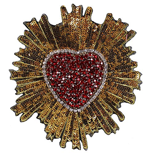 1piece Red Gold Heart Beaded Crystal Fabric Patches Sequins Applique Badges DIY Sewing Accessories TH784 (Sequin Applique Heart)
