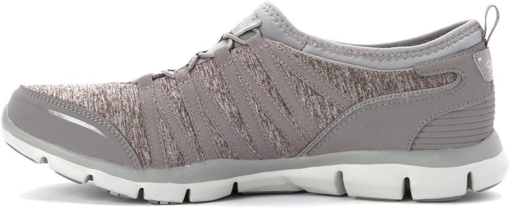 22602 Gray Pink Skechers Shoes Memory Foam Women Slip On