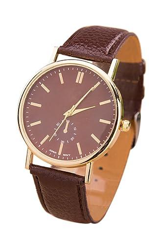 Reloj de hombre - GENEVA Reloj de pulsera de banda de cuero de imitacion informal de