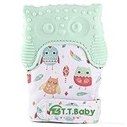 Baby Teething Mitten for Babies Self-Soothing Pain Relief and Teething Glove BPA FREE Safe Food Grade Teething Mitt (Light Green)